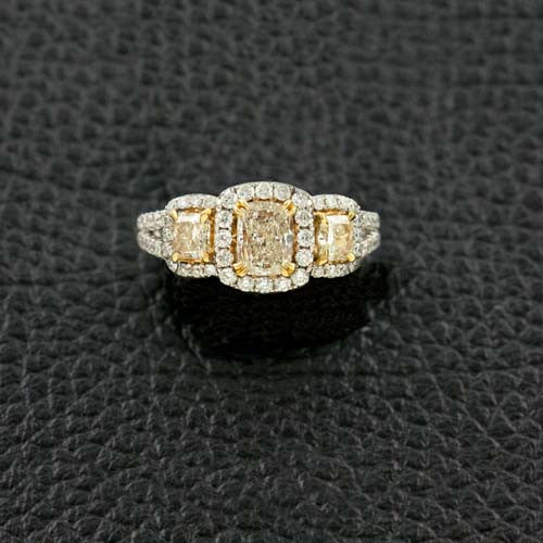Three Radiant cut Yellow Diamond Ring
