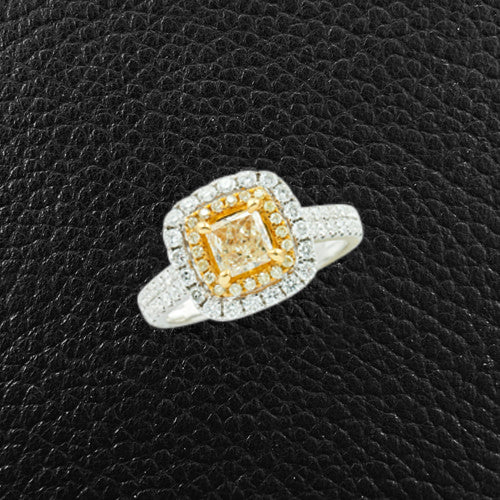 Yellow & White Diamond Engagement Ring