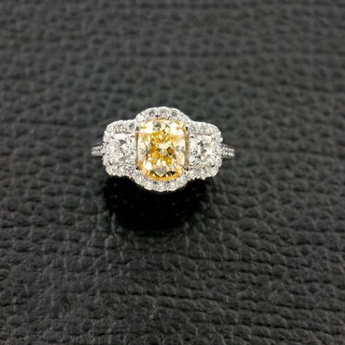Yellow Cushion cut Diamond Engagement Ring