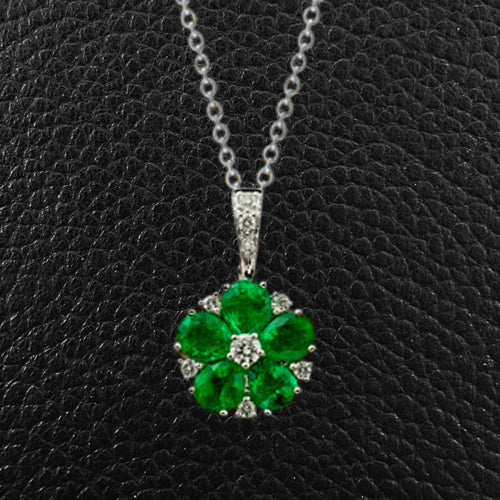 Emerald & Diamond Flower Pendant