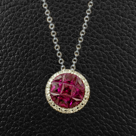 Multi-Ruby & Diamond Pendant