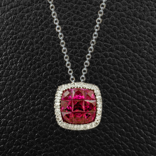 Cushion Shaped Ruby & Diamond Pendant