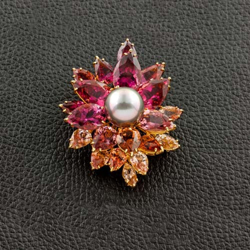 Pearl & Tourmaline Flower Brooch