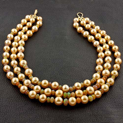 Golden South Sea Pearl & Opal Necklace