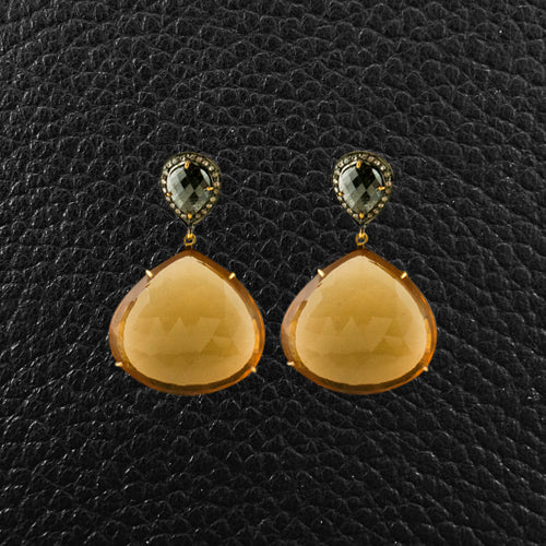 Citrine & Black Diamond Dangle Earrings