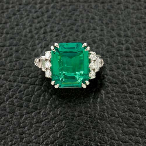 Signed J.E. Caldwell Estate Emerald & Diamond Ring