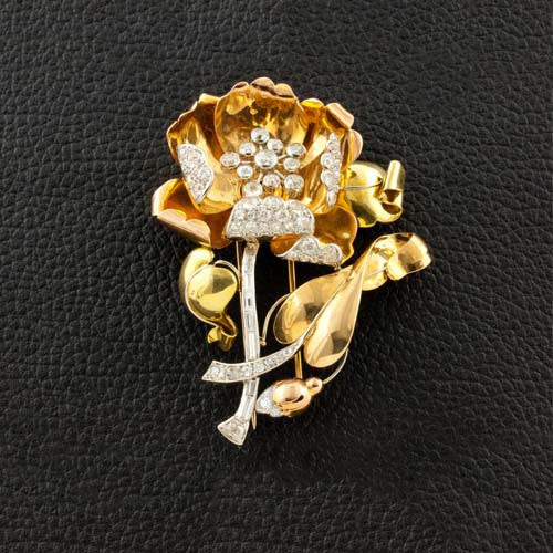 Gold & Diamond Flower Pin