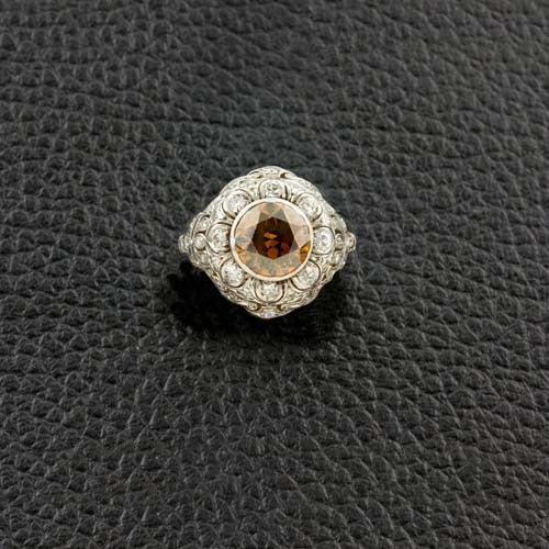 Orange-Brown Diamond Estate Ring