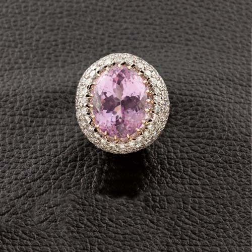 Kunzite & Diamond Estate Cocktail Ring