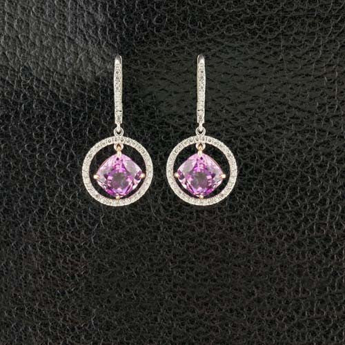 Kunzite & Diamond Dangle Earrings