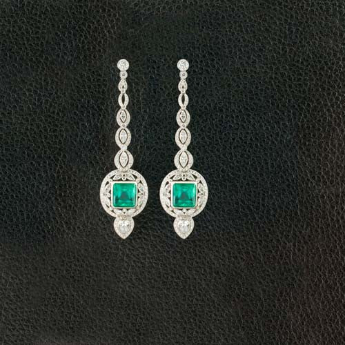 Emerald & Diamond Dangle Earrings