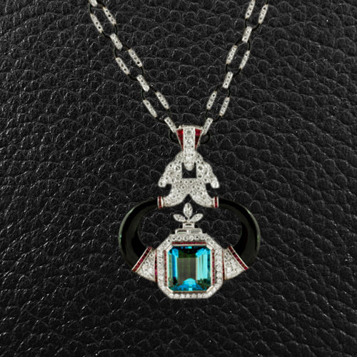 Aquamarine, Diamond, Onyx & Ruby Necklace