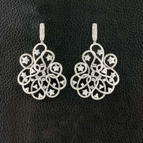 Diamond Swirl & Flowers Earrings