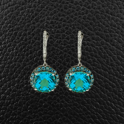 Blue Topaz, Sapphire & Diamond Dangle Earrings