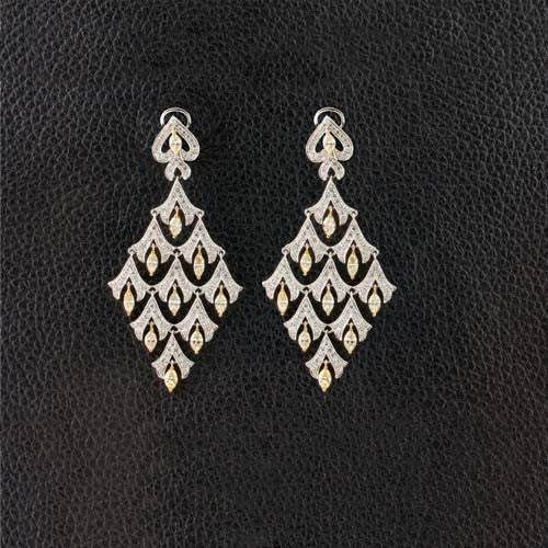 Fancy Color Diamond Chandelier Earrings