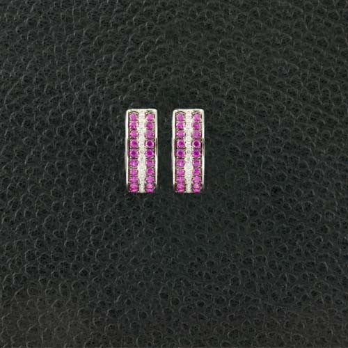 Ruby & Diamond Half Hoop Huggie Earrings