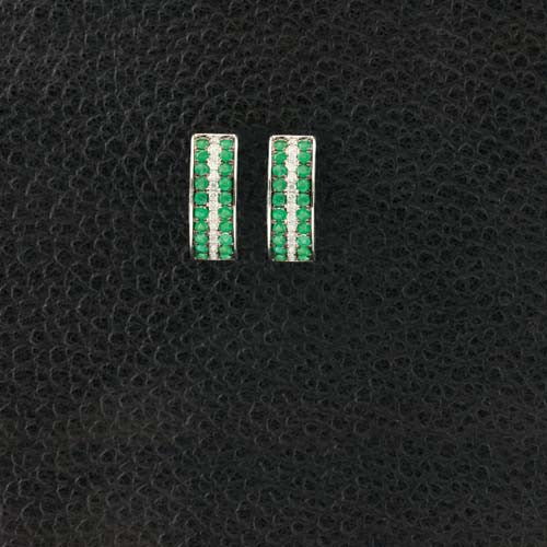 Emerald & Diamond Half Hoop Huggie Earrings