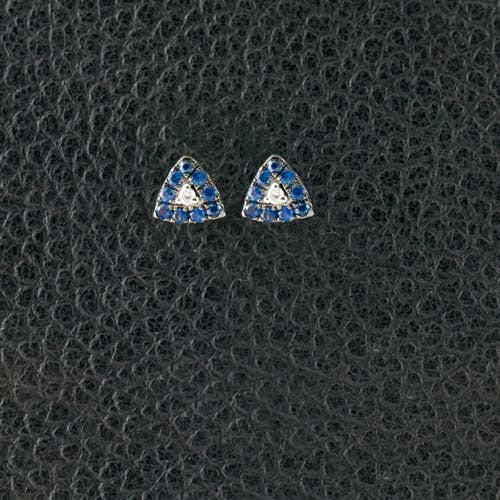Sapphire & Diamond Triangle Earrings