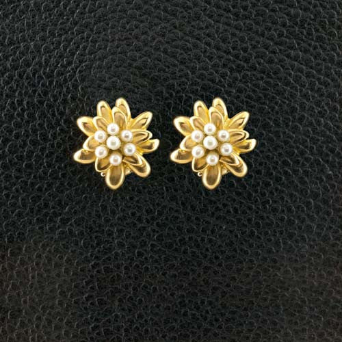 Gold & Pearl Flower Estate Earrings