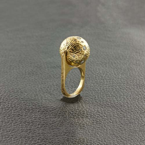 Yellow Gold & Diamond Estate Spinning Ball Ring