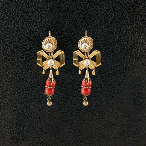 Antique Coral & Pearl Earrings