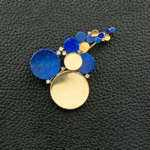 Lapis & Diamond Estate Bubble Pin
