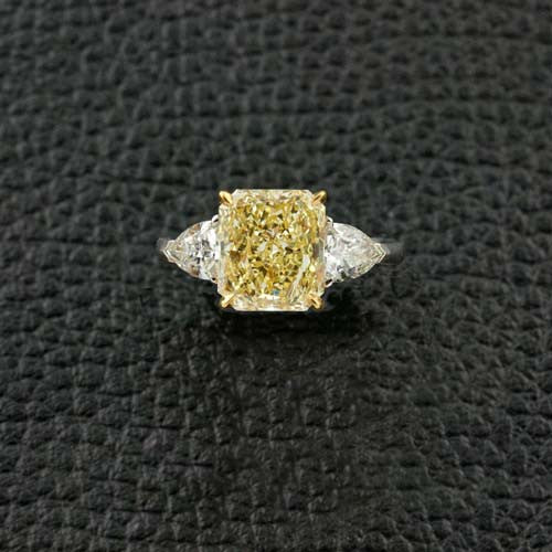 Radiant cut Yellow Diamond Engagement Ring