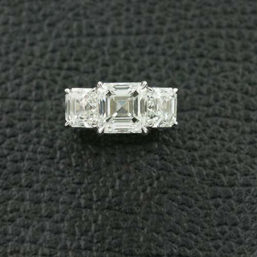 Asscher cut Diamond Three Stone Ring