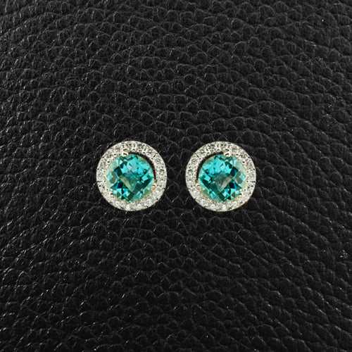 Sky Blue Topaz & Diamond Earrings