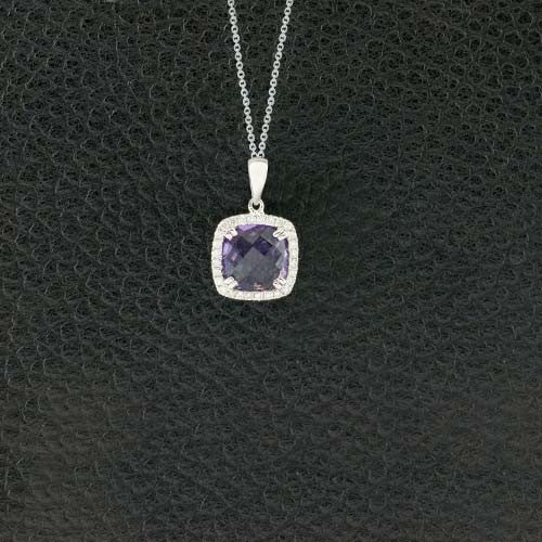 Cushion Amethyst & Diamond Pendant