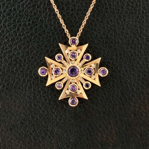 Amethyst & Diamond Cross Pendant