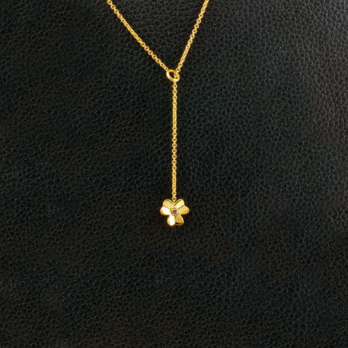 Flower Lariat Necklace with Diamond Center