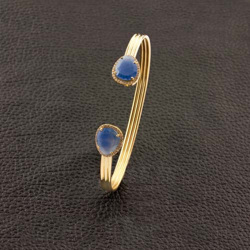 Sapphire & Diamond Open Bangle Bracelet