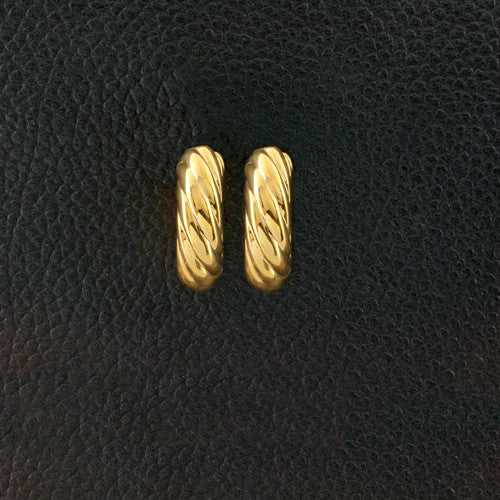 Yellow Gold Twist Hoop Earrings