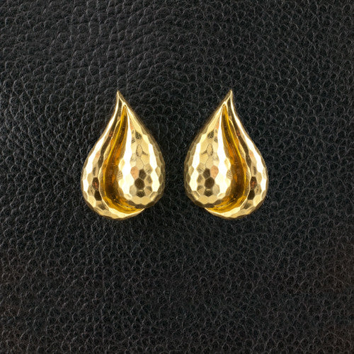Hammered Tear Drop Shaped Estate Earrings
