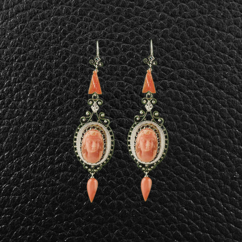 Carved Red Coral Antique Earrings