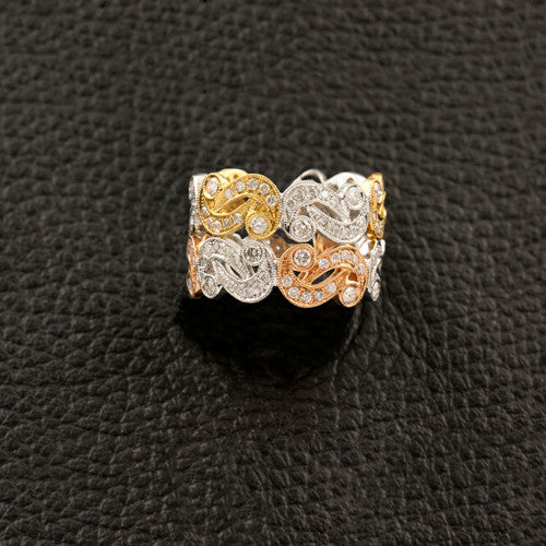Tri-color Gold & Diamond Ring