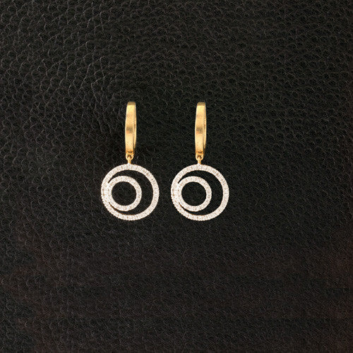 Circle in a Circle Diamond Earrings