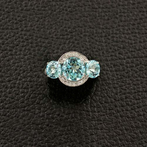 Triple Blue Topaz & Diamond Ring