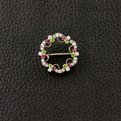 Diamond Garnet & Ruby Wreath Estate Pin