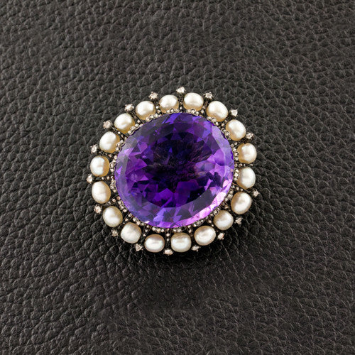 Amethyst, Diamond & Pearl Estate Pin