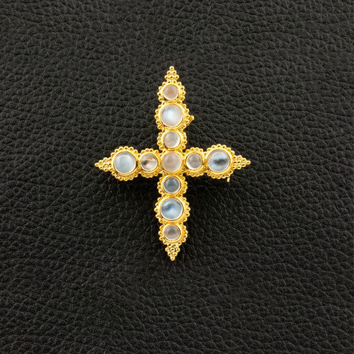 Moonstone Cross Pin