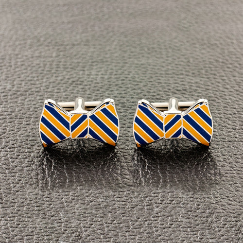Blue & Gold BowTie Cufflinks