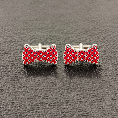 Red Bow Tie with Polka Dots Cufflinks