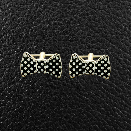 Black & White Polka Dot Bow Tie Cufflinks