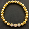 Gold & Diamond Hammered Ball Estate Necklace