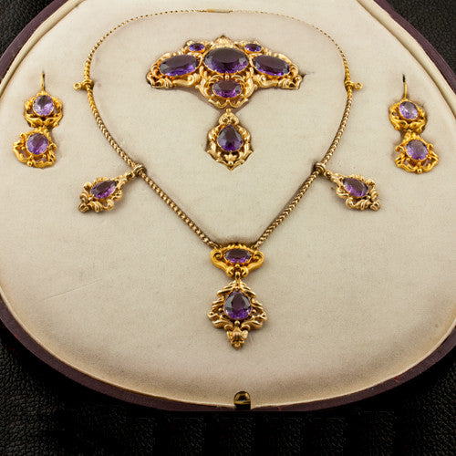 Estate Amethyst Necklace, Pin & Earring Set