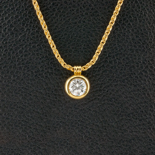 Bezel set Solitaire Diamond Pendant