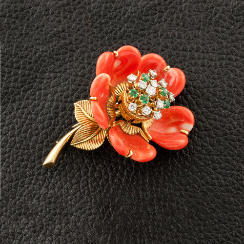 Coral, Diamond & Emerald Flower Estate Pin