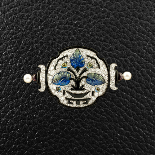 Sapphire, Diamond & Pearl Cartier Estate Pin with Box